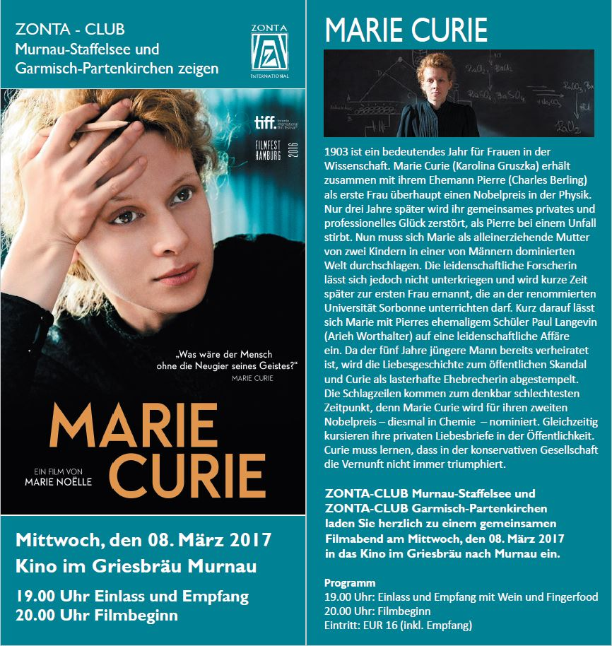 Marie Curie - Zonta Filmabend 2017
